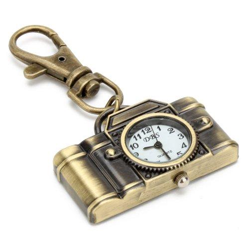 キーホルダーに装着可 便利な一品 カメラ模様 レンズ時計ディスプレイ アナログ表示 ホワイトダイヤル クランプ式 クォーツ時計 石英 青銅色 可愛いギフト キッズ向け コスパ プレゼント
