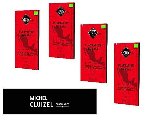 Michel Cluizel Barra de chocolate negro orgánico 66% Plantation de cacao Mokoya México Manteca de cacao pura Vainilla Bourbon Sin soja y sabor - 4 x 70 gramos