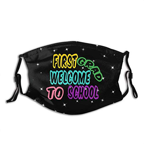 Hiram Cotton Mundschutz First Grad Welcome to School Mouth Cover Face Cover Dust-Proof Sunscreen Turban Headdress Mouth Scarf with Reusable Austauschbaren Filter