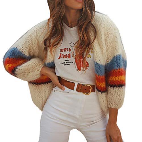 Bowake Womens Color Block Striped Draped Kimono Cardigan Open Front Loose Knit Sweaters