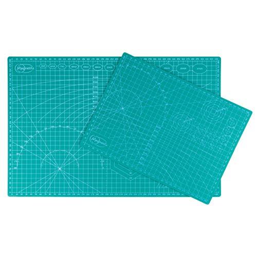 Magnetiks DOPPELTER MEHRWEHRT Schneidematte DIN A3 und DIN A4 im 2er Set Schneideunterlage - selbstheilend doppelseitig grün