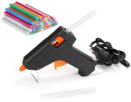 com-four® Pistola per Colla a Caldo con 38 Stick di Colla, Colla a Caldo con Glitter Colorati per la Scuola, Arte e Hobby Fai-da-Te, Pistola per Colla da 10 W (10 W - 38 Stick di Colla)