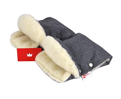BABYLUX MUFF Handmuff PLÜSCH/WOLLE Handwärmer für Kinderwagen Buggy Handschuh 2 Stück (55. Lein + Lammwolle)