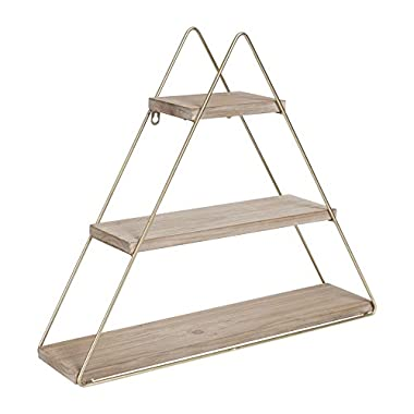 Kate and Laurel Tilde Small Three Tiered Triangle Floating Metal Wall Shelf, Rustic Light Brown/Gold