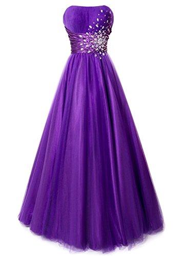 Tianshikeer Abendkleid Tüll Glitzer Kristall Cocktailkleid Lang Abschlussball für Damen Promkleid Brautjungfernkleid