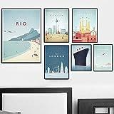 Nueva York, Berlín, Arte japonés Moderno, Ciudad de Viaje, póster, impresión, Pintura, Lienzo, Arte, Imagen de Pared, decoración, 6 Piezas sin Marco