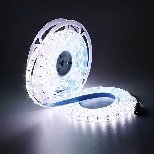 YUNBO Striscia LED Bianco Freddo 6000-6500K, 5M 24V SMD 5050 300LED Flessibile Tagliabile IP65 Impermeabile Luci a LED per Casa Camera Cucina