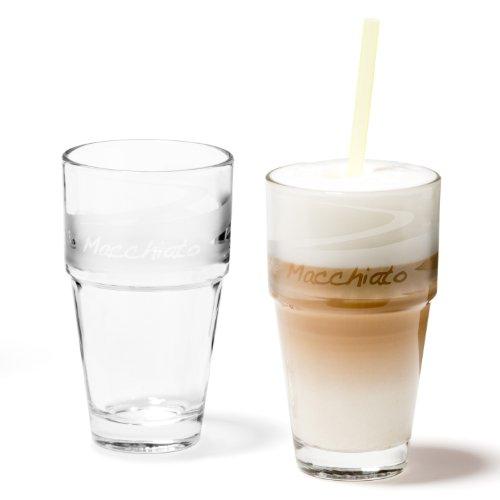 Leonardo Solo Latte-Macchiato Glas, satinierte Glas-Becher, spülmaschinengeeignete Kaffee-Gläser, 2er Set, 370 ml, 066505