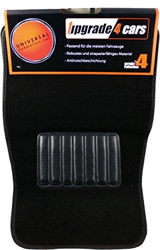 Upgrade4cars Auto-Fussmatten Set Universal in Schwarz 4 teiliges Auto-Teppich Komplettset aus Velours Widerstandsfähig und Geruchsneutral Autozubehör Innenraum
