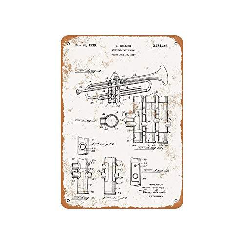 DKISEE Retro Blechschild 1939 Selmer Trompete Patent Vintage Metallschild Dekoratives Aluminiumschild Wandschild Plakette Dekoration für Kneipe, Bar, Kaffee, 20,3 x 30,5 cm