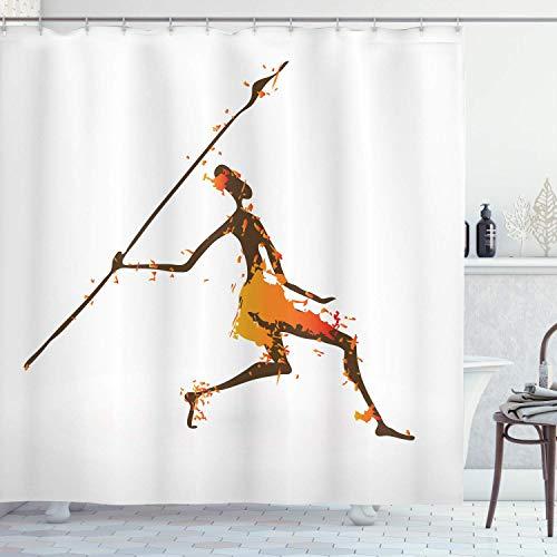 N\A Afrikanischer Duschvorhang, Jäger mit digital verteilten Farbeffekten Kulturelle Mann-Kunstillustration, Stoff-Stoff-Badezimmer-Dekor-Set mit Haken, Braun-Orange