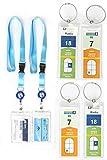 HOPEVILLE Gepäckanhänger und ausziehbare Schlüsselband Lenyards für Kreuzfahrten, 4 Stück schmale wasserfeste PVC Kofferanhänger mit Metallring und 2 Stück hochwertige Lenyards für die Kabinekarte