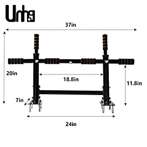 unhg Wall Mounted Pull Up Bar Chin Up bar Multifunctional Dip Station for Indoor Home Gym Workout, Power Tower Set Training Equipment Fitness Dip Stand Supports to 440 Lbs…