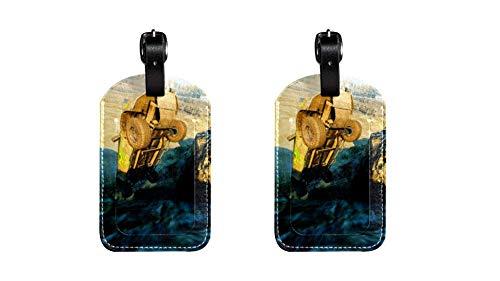 Cliff Off-Road Valigia in pelle PU etichetta bagaglio, regolabile cinturino in pelle antigraffio etichetta, design elegante 2 pacchi