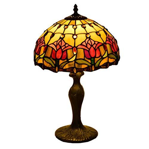 OPW Lámpara De Mesa De Estilo Tiffany Lámparas De Noche De Tulipán De Jardín Antiguo E27 Escritorio con Pantalla De Vitrales Base De Aleación Ligera para Sala De Estar Dormitorio