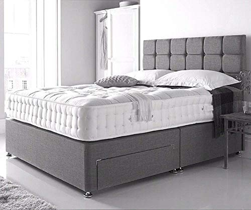 5FT King Size Linen Look Grey Divan Bed with Mattress 10', Headboard and 2 Storage Drawers (drawers will be on same side)