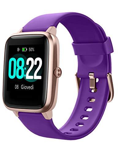 Willful - Reloj inteligente para mujer y hombre, con vibración, para llamadas, SMS y mensajes, impermeable, IP68 morado