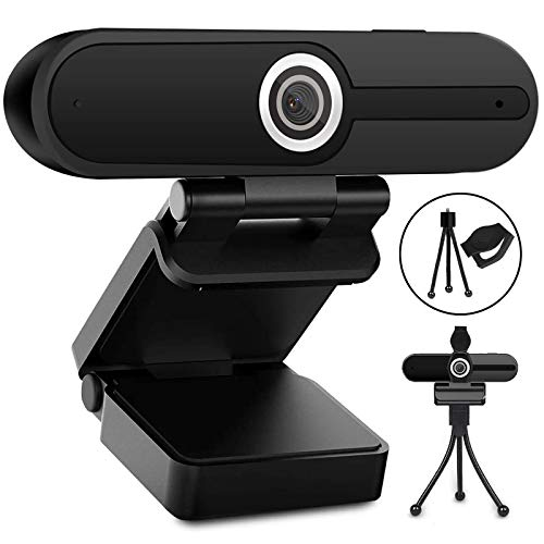 Webcam with Microphone, Web Camera Full Hd 1080P Webcam with Cover Tripod, Laptop PC Desktop Computer Camera Windows Mac Os for Video Calling Streaming Gaming Zoom YouTube Skype Hangouts Facetime