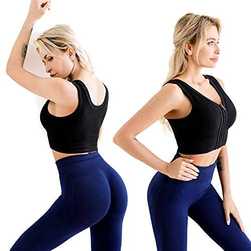 Anmose Yoga Sports Bras Tank top Seamless Sleep Bra Fashion Front Zipper Running Fitness Outer wear Everyday Front Zipper Bra for Women-Black-S