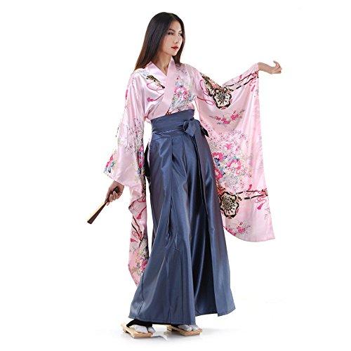 Princess of Asia Japan Damen Geisha Samurai Kimono Outfit Kostüm S M 36 38 40 (Rosa & Blaugrau)