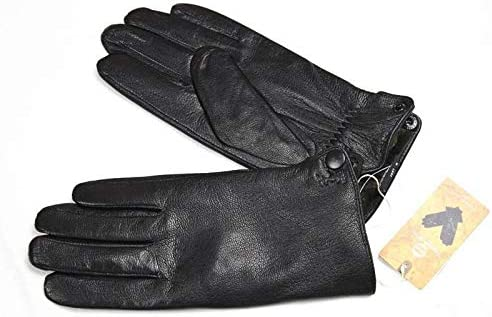 XIAOQIU Gloves Deerskin Gloves Men's Leather Fashion Wool Lining Winter Warmth Thick Fake Rabbit Fur Lining Outdoor Driving Mittens (Color : Dark Gray, Gloves Size : 12)