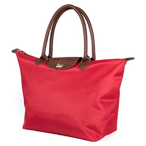 Valleycomfy 新品 Handtaschen für Damen Schultertasche Umhängetasche Shopper Taschen Große Kapazität Wasserdicht Tägliche Bags (Rot)