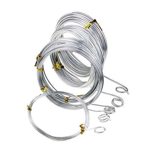 Silberfarbener Aluminiumdraht / Basteldraht, 5 verschiedene Größen (1 mm, 1,5 mm, 2 mm, 2,5 mm und 3 mm Dicke), Aludrahtrollen für Heimwerker, Skulptur und Handwerk, je Rolle 5 Meter