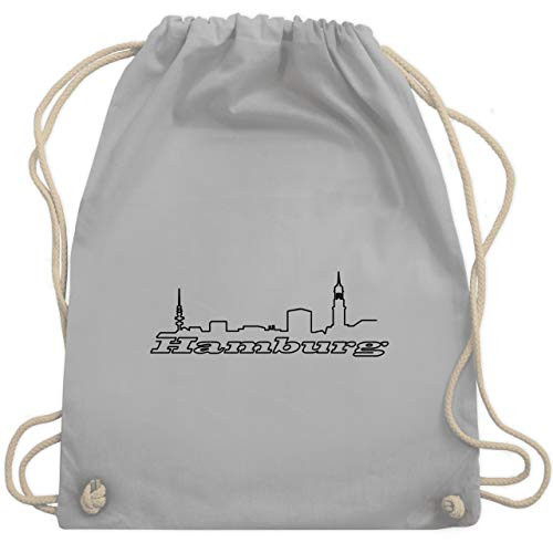 Shirtracer Skyline - Hamburg Skyline - Unisize - Hellgrau - beutel hamburg - WM110 - Turnbeutel und Stoffbeutel aus Baumwolle