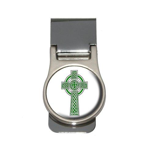 Celtic Christian Cross - Irish Ireland Scotland Scottish - Green White Money Clip