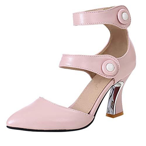 NMERWT Frauen High Heels Sommer Pumpt High Heels Schuhe Party Hochzeit Schuhe Schnalle Spitze Zehe dünne Absatzsandalen Zweireihige Sandalen