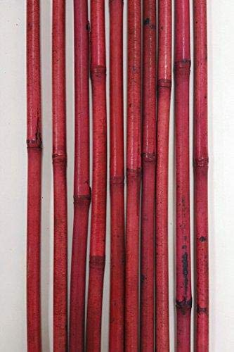 Green Floral Crafts - Decorative Bamboo Poles 57 inch Tall (Nearly 5 Ft), Light Berry Red 10 Bamboo Sticks & Botanical Accent