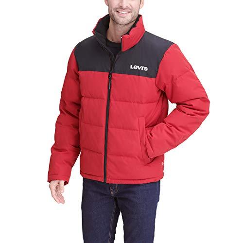 Levi's Men's Arctic Cloth Retro Bubble Puffer Jacket, Red/Black, X-Large