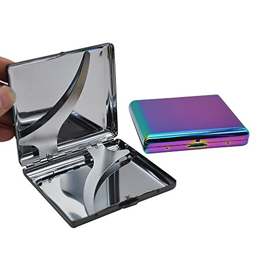 Metall EIS Regenbogen Farbe Zigarettenetui mit 20 Zigaretten normaler Größe 85 mm * 8 mm Tabaketui Box mit 2 Clips, Regenbogen