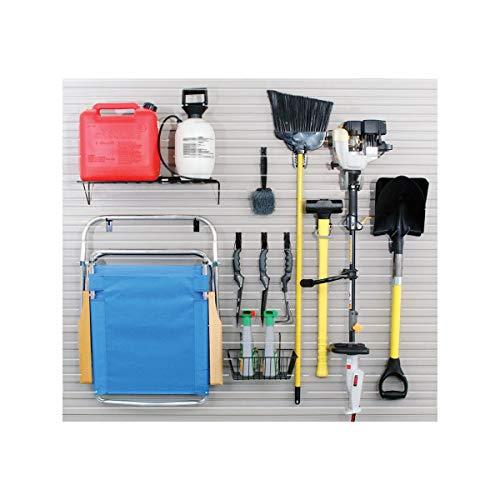 Garage Accessory Kit with 13 Hooks, Basket and Shelf for Slatwall Panel Organization