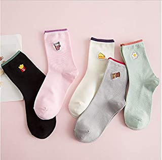 5 pares de calcetines de algodón de color caramelo para mujer fritas de huevo diseño de pastel calcetines de mujer calcetines de mujer