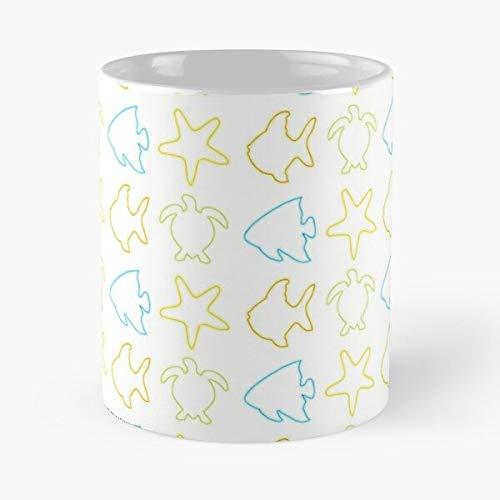 Taza de café de cerámica con diseño de animales de mar y peces de mar de océano con estrellas de mar, diseño de tortuga come comida morder John Best de 315 ml