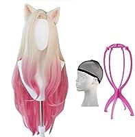 SUAIARTCOLE コスプレウィッグ Ahri 風 かつら フルウィッグ 仮装 コスチューム小物 ネット+ウィッグスタント+耳 付き HUA 236