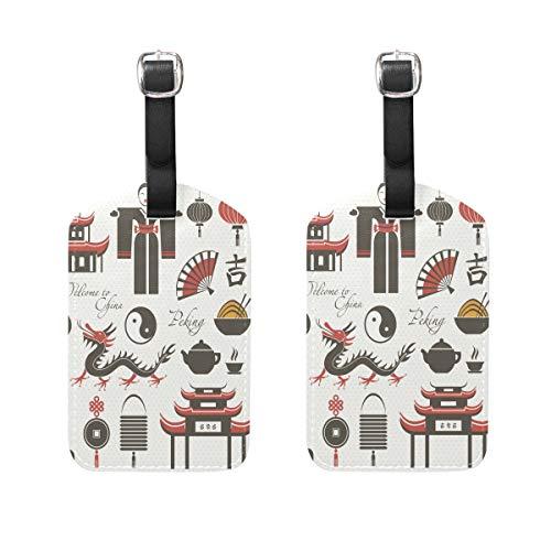 MUOOUM China Yin Yang Drangon Element Gepäckanhänger Reiseetiketten Kofferanhänger mit Namens-Adresskarten, 2 Stück