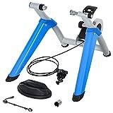 HOMCOM Entrenador de Bicicleta Rodillo para Bicicleta Plegable Portátil con Resistencia Magnética Ajustable de 8 Niveles para Ruedas de 650C, 700C o 26' - 29' 77x56x47,5 cm Azul