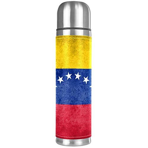 Bandera de VenezuelaEthnic MandalaBulldog - Gafas de sol de aviador de doble pared con aislamiento al vacío de acero inoxidable y piel sintética para viajes, botella de agua para Navidad, Halloween, mamá, papá