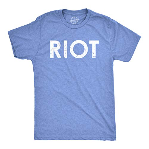 Riot T Shirt Funny Shirts for Men Political Novelty Sarcastic Adult Tees Humor (Heather Royal) - XL