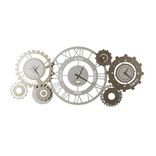 Arti e Mestieri - Fuso meccanico - mechanische Wanduhr mit römischen Ziffern und Zeitzonen, sand- und bronzefarben