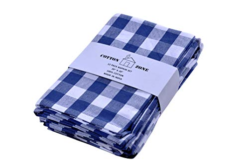 12 pcs Dinner Napkins - 20x20 Inches Made from 100% Natural Cotton | Oversized | Miltered Corners, Ultra Soft | Perfect for Thanksgiving & Christmas | Highly Absorbent Cloth Napkins | Blue & White