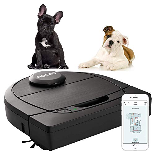 Neato Robotics D650, Cleaner Pack, Corner Cleaning Robotic Vacuum with D-Shape + Exclusive Pet Accessories for Carpet and Hard Floors, App/Alexa Compatible, Black, 61 W, 69 Decibeles