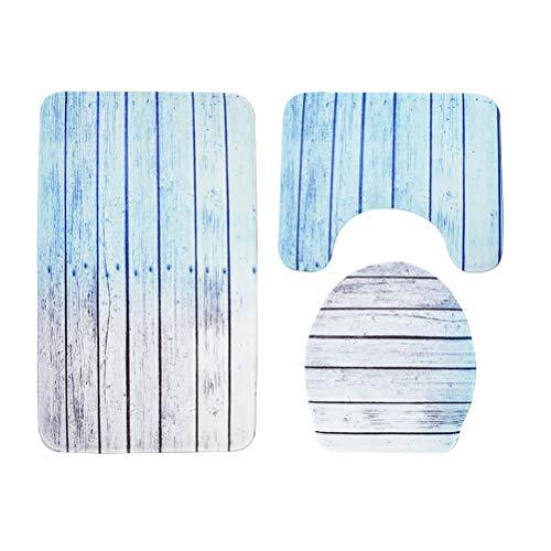 TOPBATHY 3 en 1 Tapis de Salle de Bain Bleu Motif de Tapis de Bain antidérapant Tapis de Toilette Tapis Couvercle de siège de Toilette Couvercle Couvercle