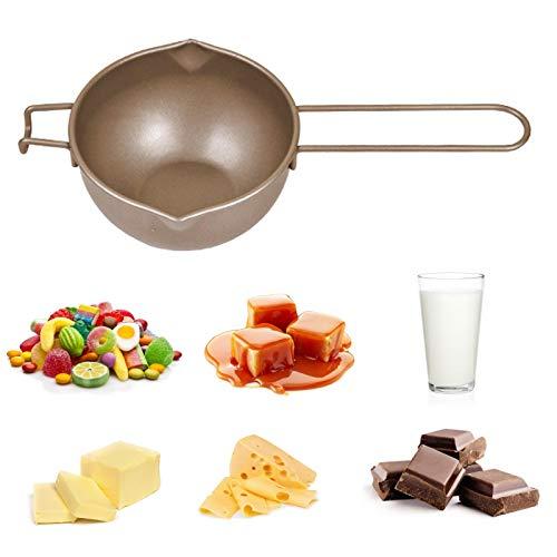 Wasserbad Schmelzschale, Schokolade Schmelztiegel mit Griff aus Kohlenstoffstahl Schmelztopf Doppelausguss Kessel Butter Schmelzen Topf 700ML Melting Pot für Schokolade Butter