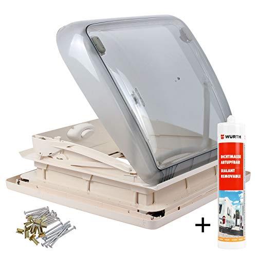 Dometic Mini Heki 40 x 40 Dachstärke 43-60 mm Zwangsbelüftung + Dekalin Dichmittel für Wohnwagen oder Wohnmobil