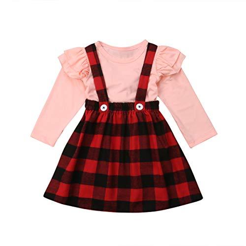 Baby Mädchen Langarmshirts + Hosenträger Plaid Druck Rock schwarz Top Outfit Set für 3M-4Y (1-2Jahre alt, Pink-Rot)