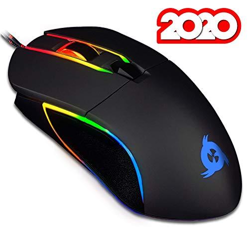 KLIM Aim Gaming Maus RGB Gamer Maus [7000 DPI] - Ergonomische RGB Chroma Computermaus mit Kabel für Rechts- und Linkshänder - PS4-Gaming Mouse, Laptop und Desktop-PC + optische Präzisionsmaus Schwarz