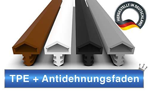 Türdichtung Grau 5m - 4mm Nutbreite / 7mm Nuttiefe / 12mm Falz - Antidehnungsfaden Haustürdichtung Türanschlagdichtung Zimmertürdichtung (grau 5m)